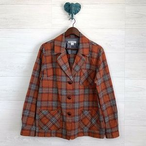 Pendleton 100% Virgin Wool Plaid Button Up Blazer